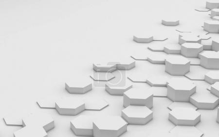 hexagones fond avec espace de copie, rendu 3d