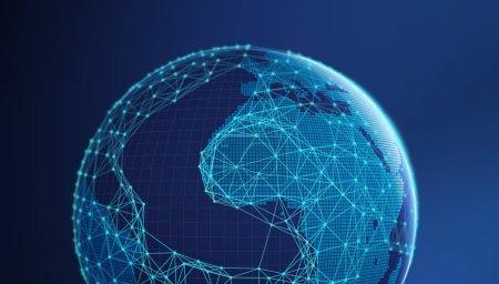 Photo pour Planète terre, le Concept d'Internet des affaires isolé sur blanc, lignes de communication connexion symboles - image libre de droit