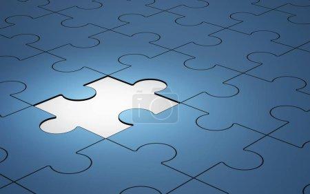 Photo pour Puzzle bleu pièces avec une seule pièce brillant, illustration 3d - image libre de droit