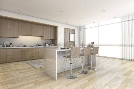 3d rendering wood bar kitchen near window