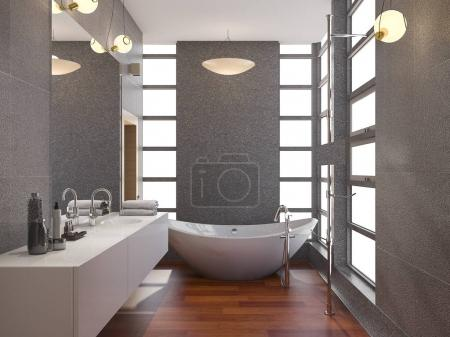 3d rendering wood modern bathroom with window and stone tile wall
