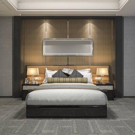 3D-Rendering moderner Luxus-Schlafzimmer-Suite und Badezimmer