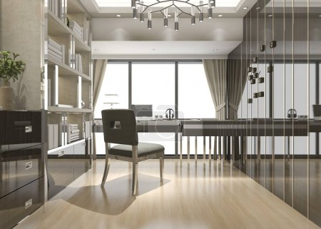 3D-Rendering von Geschäftstreffen und Arbeitsräumen im Home Office