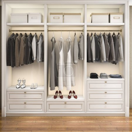 Photo for 3d rendering modern scandinavian white wood walk in closet with wardrobe - Royalty Free Image