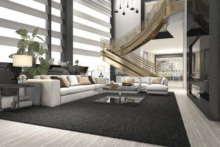 Photo pour 3d rendant luxe et salon moderne avec escalier doré à double étage - image libre de droit