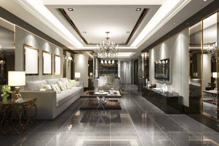 3D Rendering Luxus und modernes Wohnzimmer und Esszimmer