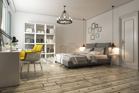 Photo for 3d rendering vintage bedroom with working table - Royalty Free Image