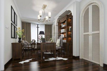 Arbeitszimmer im europäischen Stil mit Holz-Bücherregal