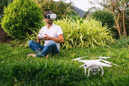 A man in a virtual reality helmet