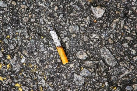 Cigarette butts on the street