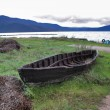Old wooden boat on the foreground of lake Prespa i...