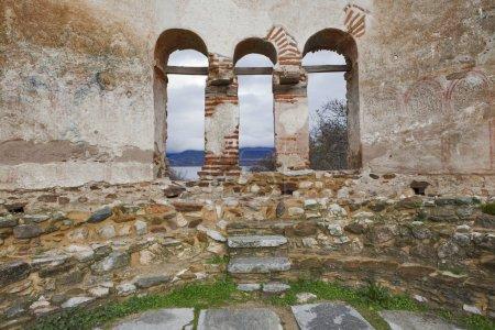 Saint Achilleios old Byzantine church ruins at lak...