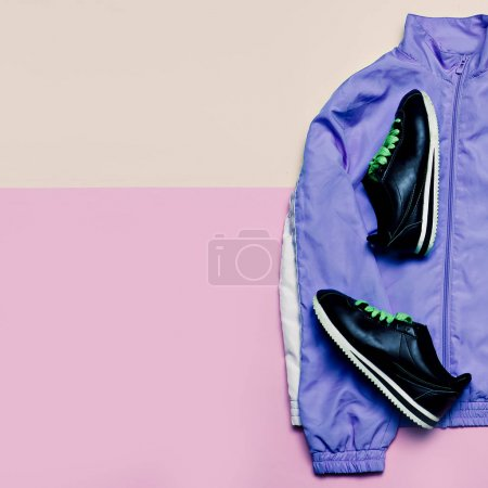 Stylish sports jacket and sneakers. Minimal stylish clothes