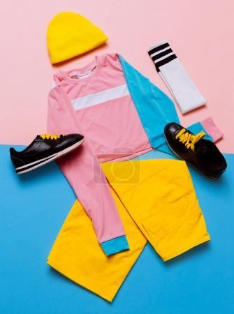 Stylish sports blouse and pants. Pastel trend. Fashion Accessori