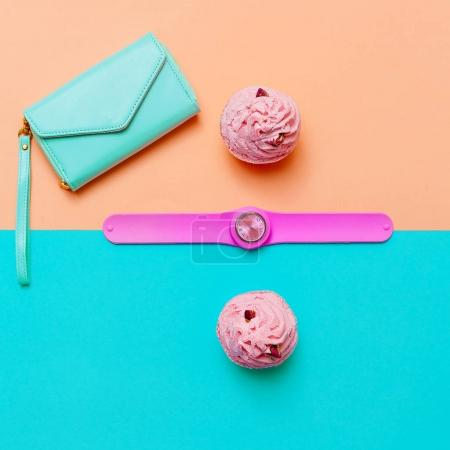Fashion accessory Watch and purse. Minimal trend. Top view. Be s