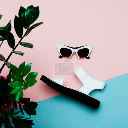 Stylish Clothing Fashion Accessories. Sandals and sunglasses. Su