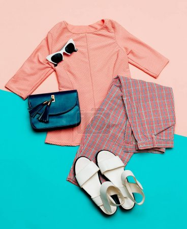 Photo for Stylish summer clothes. Vintage. Checkered trousers. Outfit - Royalty Free Image