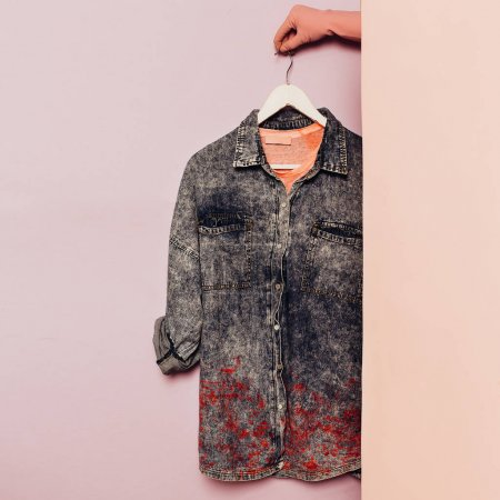 Photo for Denim shirt. Stylish clothes. wardrobe ideas trend hipster outfit - Royalty Free Image