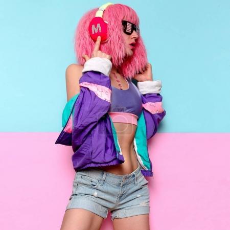 Listen to music. Girl DJ. Playful style. Minimal pop art