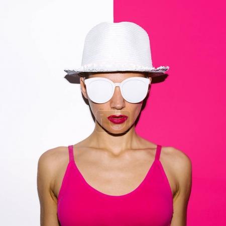 Girl Pop Art Style beach hat and sunglasses