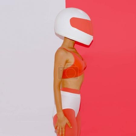 Girl in moto helmet. Minimal fashion art