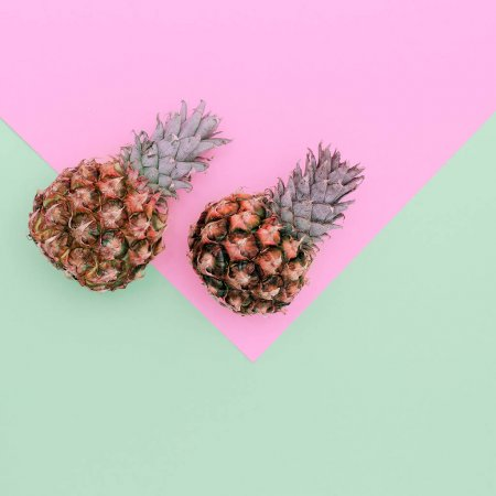 Photo pour Deux Mini Ananas Minimal Art Design Candycolors - image libre de droit