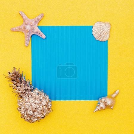 Photo for Summer tropical set. Pineapple, Shells. Minimal. Sea vibes - Royalty Free Image