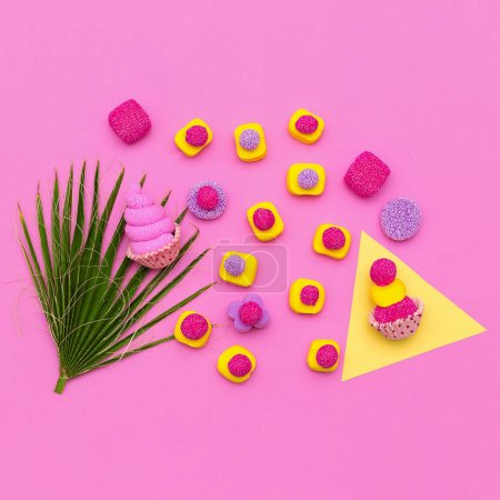 Photo for Set of sweets. Candy  Minimal Mood. Flatlay art - Royalty Free Image