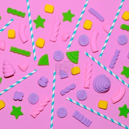 Sweet background. Candy Minimal Flatlay art Pastel trend