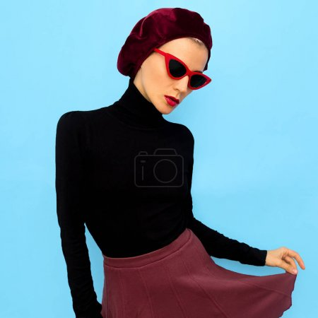 Photo for Model in a fashion accessory beret and sunglasses. Vintage style - Royalty Free Image