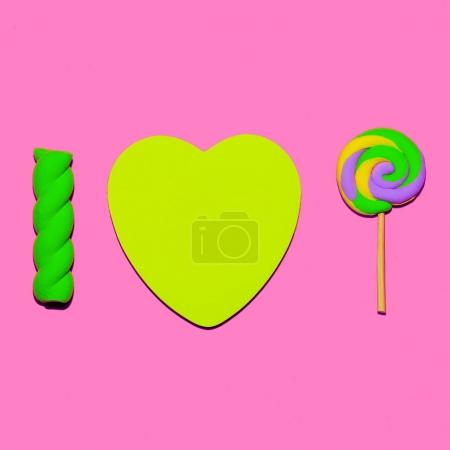 Lollipop and marshmallows. Candy mood Flatlay Art