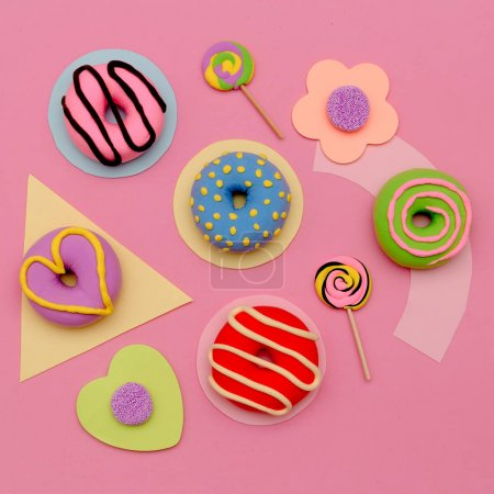 Photo for Donuts and Candy Lover Set.  Flat lay sweet minimal pink art - Royalty Free Image