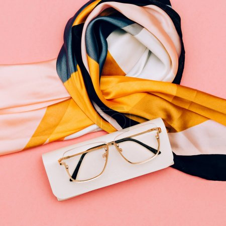 Fashion accessories Scarf and glasses.  Summer trend outfit