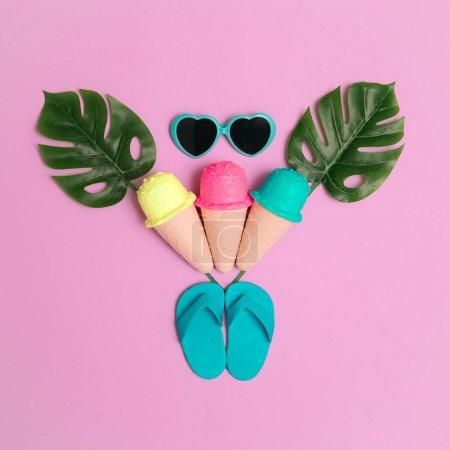 Photo for Vacation beach fashion mood.  Ice cream, flip-flop, sunglasses.  Minimal flat lay art - Royalty Free Image