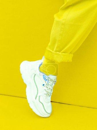 Photo for Fashion Sneakers. Minimal monochrome design.  Yellow aesthetic - Royalty Free Image