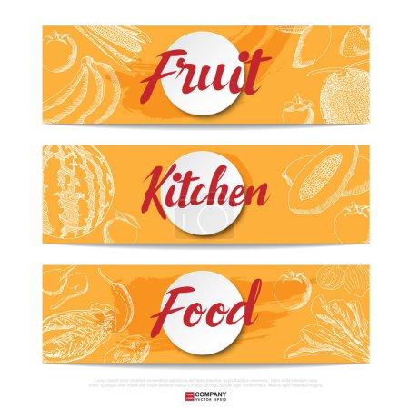 Illustration for Vector illustration design of hand drawn Food banner - Royalty Free Image