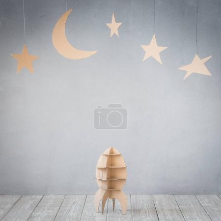 Cardboard rocket and stars