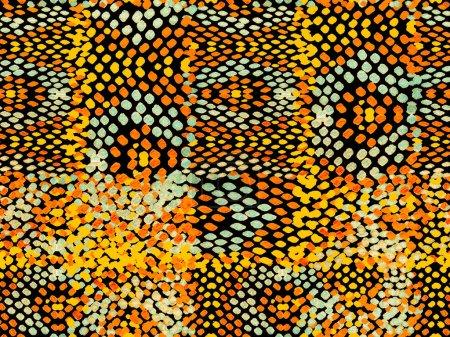Photo pour Summer Rhombus Background. peau de serpent orange ambre texture aléatoire. Geo Symetric Ikat Rapport. Aquarelle Ethnique Design. Modèle de maillot de bain géométrique vibrant. Modèle sans couture ethnique . - image libre de droit
