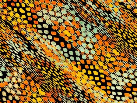 Photo pour Snake Skin Random Texture. orange orange orange fond losange d'été. Modèle de maillot de bain géométrique vibrant. Modèle sans couture ethnique. Geo Symetric Ikat Rapport. Aquarelle Ethnique Design . - image libre de droit