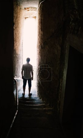 Man silhouette on stairs