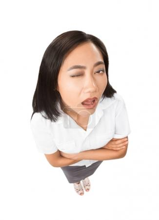 Asian woman with facial expressions