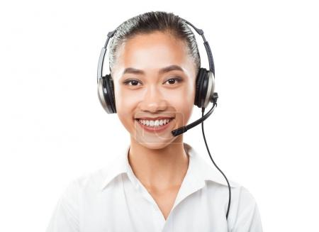 Asian business woman with headset