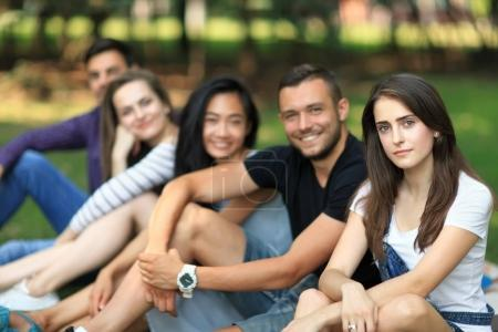 Friends having fun on open air