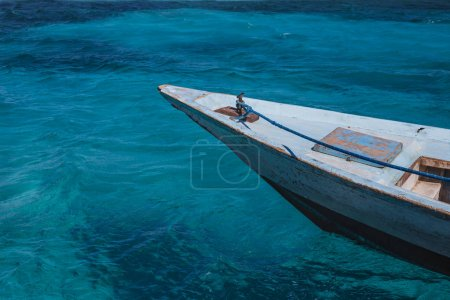 Transparent turquoise sea view from motor boat deck. Travel background