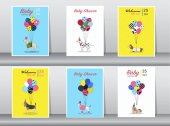Set of baby shower cardsvintage colorpostertemplategreeting cardsballoonsanimalsdogsVector illustrations