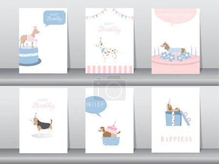 Photo pour Ensemble de cartes d'invitation d'anniversaire, affiche, salutation, modèle, animaux, chiens, illustrations vectorielles - image libre de droit