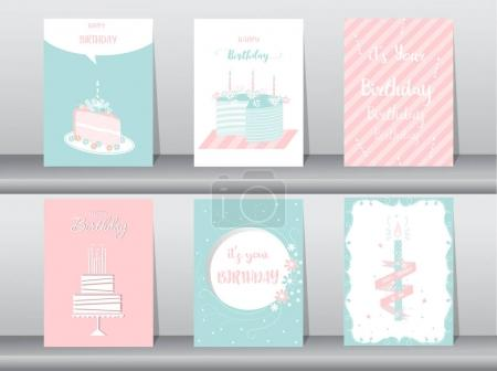 Photo pour Collection de cartes de vœux ou d'anniversaire, gâteau, illustrations vectorielles - image libre de droit
