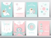 Set of cute space posterstemplatecardscuterocketspaceeducationastronautgalaxystarzooVector illustrations