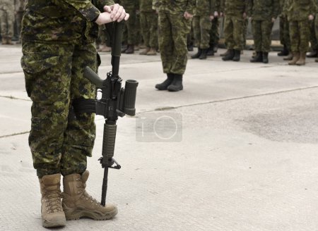 Photo for Soldier with weapon. Armistice. Armed forces, troops, army. Military concept. Empty space for text - Royalty Free Image