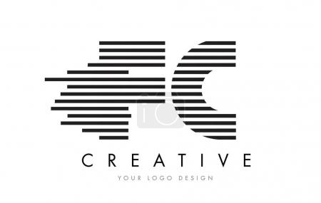 FC F C Zebra Letter Logo Design with Black and White Stripes Vector